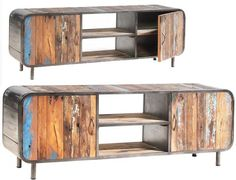 Solid reclaimed boat wood. Sheet steel case with clear sealed finish. Colors and coverage will vary   Length: 63
