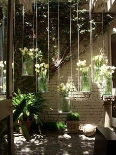 garden art, hanging flower vase, DIY yard art innovations…for the backyard overhang! - All About Garden Hanging Flowers, Hanging Art, Hanging Plants, Flower Vases, Indoor Plants, Hanging Vases, Hanging Gardens, Patio Plants, Window Hanging