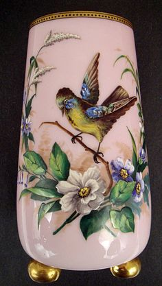 Antique French Cased Glass Enameled Vase. France in the mid 19th century.