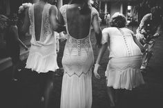 Bride and bridesmaids in lace crochet dresses byMagali Pascal