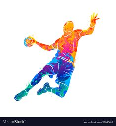 Abstract handball player jumping with the ball vector image on VectorStock Handball Players, Boxing Posters, Watercolor Walls, Watercolor Sketch, Watercolors, American Football Players, Sports Wallpapers, Moving Wallpapers, Sports Art