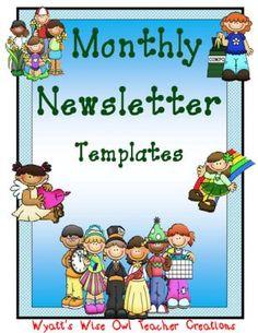 Monthly Editable Newsletter Templates from Mrs. Wyatt's Wise Owl Teacher Creations on TeachersNotebook.com -  (16 pages)  - Monthly Editable Newsletter Templates
