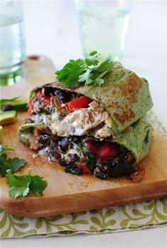 Salsa Verde Chicken and Black Bean Burritos