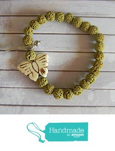 Natural Butterfly Beaded Stretch Bracelet with Bird Bead and Green Lava Beads from Ambie's Bead Boutique https://www.amazon.com/dp/B01743KVV8/ref=hnd_sw_r_pi_dp_RFclwbYT8TPM2 #handmadeatamazon