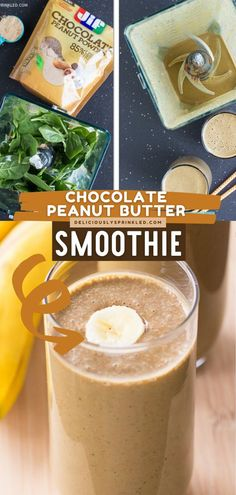 Need an easy summer drink to start your day? Try this Chocolate Peanut Butter Smoothie recipe! Not only is this easy breakfast smoothie creamy and delicious, but it is also packed with protein! Frozen Drink Recipes, Easy Drink Recipes, Frozen Drinks, Dessert Recipes, Yummy Recipes, Chocolate Peanut Butter Smoothie, Chocolate Milkshake, Homemade Smoothies, Yummy Smoothies