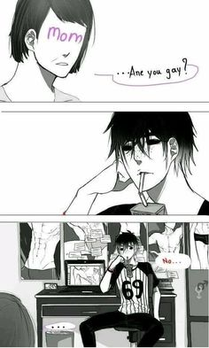"Mom question his son and no he just love yaoi  ( ͡° ͜ʖ ͡°) (Don't know who draw that ""><)"