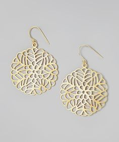 Loving this Gold Filigree Leaf Disc Drop Earrings on #zulily! #zulilyfinds