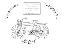 Free Bicycle Embroidery Pattern
