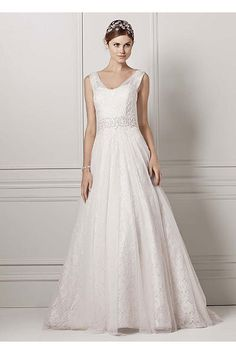David's Bridal. $649.99 Oleg Cassini Tank Wedding Dress with Lace Accents CWG530