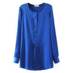 Round Neck Button Long Sleeve Plain Blouse (1.230 RUB) ❤ liked on Polyvore featuring tops, blouses, long sleeve shirts, long sleeve tops, button blouse, blue button shirt and blue top