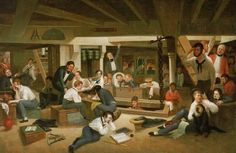Midshipman's Quarters on Board a Ship of War by Augustus Earle.  On 28 October 1831, Earle joined H.M.S. Beagle as artist supernumerary with victuals, and befriended Charles Darwin. In April and May 1832 Earle lived with Darwin in a cottage in the village of Botofogo, near Rio.