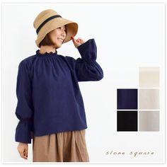 【slone square  スロンスクエア】 東炊き ローン 衿 袖 シャーリング ブラウス (7042)レディース ファッション