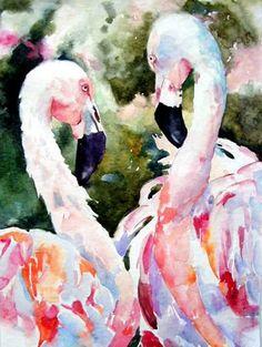 Longnecks: Flamingos in Love, painting by artist Kay Smith Flamingo Painting, Flamingo Art, Pink Flamingos, Illustrations, Illustration Art, Pink Bird, Watercolor Sketch, Watercolor Animals, Fantastic Art