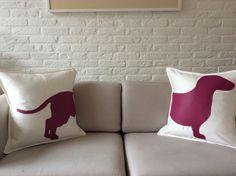Teckel / dachshund kussens verkrijgbaar via Www.philomenelensveld.blogspot.nl of Facebook