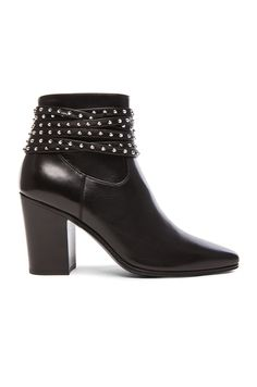 Saint Laurent Studded Strap Leather French Boots in Black