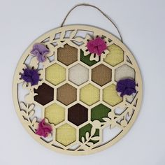 """I happen to spot hexagons almost everywhere (and I hear you all laughing!) Therefore it is no surprise that the """"beeing kind"""" spring theme at JoAnn Fabrics pulled me right in. A laser cut wooden honeycomb décor caught my eye: Those holes needed fabric … woven hexagons! Conveniently, JoAnn Fabrics also carries Lion Brand's Bonbon yarn minis which are perfect for hexagon pin loom weaving, so a pack of """"601 Nature"""", a honeycomb wood décor, and I checked out the store minutes later. Spring Theme, Flower Center, Joann Fabrics, Wooden Decor, Loom Weaving, Hexagon Shape, Honeycomb, Fun Projects, Crochet Hooks"""
