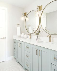 Double Vanity Bathroom - Bathroom with light blue cabinets. - Double Vanity Bathroom – Bathroom with light blue cabinets. Bad Inspiration, Bathroom Inspiration, Bathroom Inspo, Cute Bathroom Ideas, Casa Hygge, Design Scandinavian, Downstairs Bathroom, Bathroom Double Vanity, Gold Mirror Bathroom