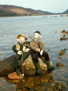Fishermen on the shore of Loch Lochy in the Scottish Highlands. Textile art dolls - characters by julia