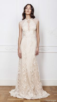 divine atelier 2016 bridal gowns cap sleeves jewel neckline middle slit fully embellished elegant sexy lace sheath wedding dress detachable a line overskirt keyhole back (isadora) mv