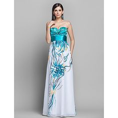 Sheath/Column Sweetheart Floor-length Pattern Chiffon Evening Dress – USD $ 149.99