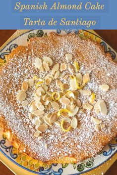 Spanish Almond Cake Recipe- Tarta de Santiago- A traditional Spanish cake that requires little effort to make, it is delicious and also gluten-free. Spanish Desserts, Kid Desserts, Dessert Recipes, Desserts From Spain, Recipes Dinner, Cake Recipes, Spanish Dinner, Spanish Food, Traditional Spanish Dishes