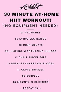 No Equipment. At-Home HIIT Workout! 30 Min Home Workout No Equipment Source by KimZampogna The post 30 Min Home Workout No Equipment appeared first on Haley Health and Fitness. Hiit At Home, Full Body Workout At Home, Hitt Workout, Cardio Workout At Home, 30 Minute Workout, Workout Plans, At Home Workouts For Women Full Body, Full Body Workout No Equipment, 30 Min Cardio