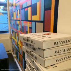 Mural at Maccheroni - Pizza boxes... :D