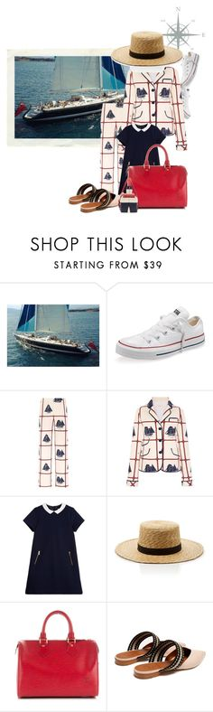 """""""My Mommy Owns A Yacht"""" by the-house-of-kasin ❤ liked on Polyvore featuring Converse, Tory Burch, Tartine et Chocolat, Janessa Leone, Louis Vuitton, Roksanda, Thom Browne, Nautical and sailing"""