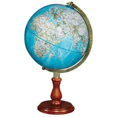 Explore the world with this beautiful Hudson desktop globe. The 12 inch diameter globe is held by a brass-plated die-cast numbered semi-meridian mounted on top an elegant hardwood base and riser in medium walnut finish.