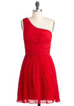 You're Rumba One Dress by BB Dakota - Mid-length, Red, Solid, Pleats, Ruching, Formal, Wedding, A-line, One Shoulder, Holiday Party