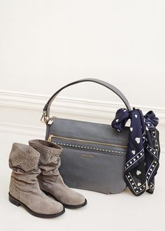 TWIN-SET Simona Barbieri: hobo bag with front pocket and split leather biker boots with two colour rhinestone appliques on the bootleg