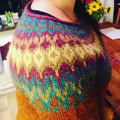 fe Short rows in the colour work. After completing row I purled back across the back, turned my work (w&t) and knit back to the BOR. Next one after completing row Knitting Projects, Knitting Patterns, Icelandic Sweaters, Handicraft, Ravelry, Knit Crochet, Vest, Wool, Sewing