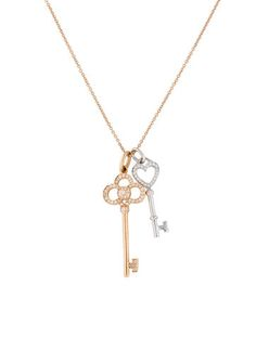 Tiffany & Co. 18K and Diamond Tiffany Keys Pendant Necklace