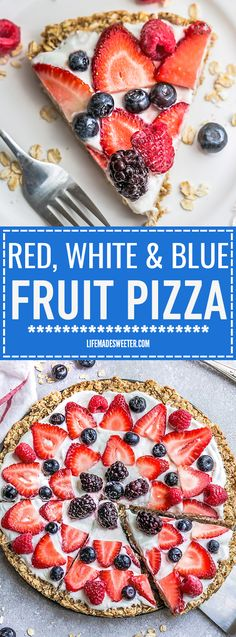 This Healthy Red, White & Blue Fruit Pizza makes the perfect healthy and extra special breakfast, brunch or dessert. Best of all, it's so easy to make in less than 30 minutes with your favorite fresh strawberries, raspberries, blackberries and blueberries, a gluten free granola crust and Vanilla Greek yogurt. Perfect for Memorial Day, Mother's Day, Father's Day, Fourth of July, barbecues, potlucks or any other shower or party for spring and summer!