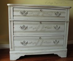 Antique dresser AS Paris Grey, French Linen Wash, clear and dark wax highlighted.