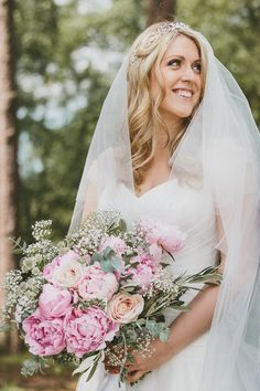 Bride in Suzanne Neville Bridal Gown with Pink Peony Wedding Bouquet - McKinley Rodgers Photography | Rustic Wedding at Gate Street Barn, Surrey | Suzanne Neville Wedding Dress | Pink Peony Bouquet | Story Catchers Films