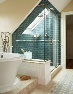 Check Out 43 Useful Attic Bathroom Design Ideas. Attic spaces are considered to be difficult to decorate due to the roofs of various shapes. Attic Bathroom, Attic Rooms, Attic Spaces, Attic Shower, Shower Bathroom, Bathroom Ideas, Shower Window, Shower Tiles, Skylight Bathroom