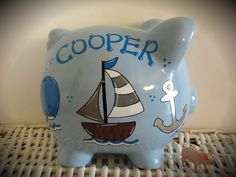 Personalized Hand Painted Piggy Bank ........LOVE THIS!!!