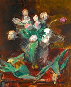 Sir Matthew Smith 1879-1959 White And Pink Tulips In Vase