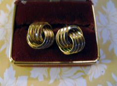 Vintage Signed Jewelry Trifari Earrings Shiny Goldplated Metal Swirl Knot Motif  #Trifari #clip