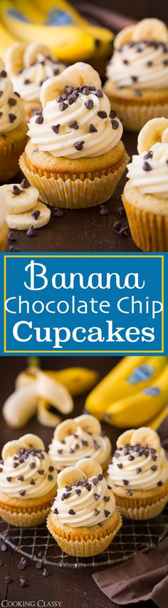 Banana Chocolate Chip Cupcakes with Cream Cheese Frosting - these cupcakes are divine! Perfectly sweet and decadent! You could also do these with a vanilla bean frosting which you can search for on the site. @chiquitabrands