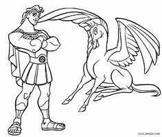 Hercules Pegasus Free Printable Coloring Pages For Online Kids Coloring Pages For Boys, Disney Coloring Pages, Free Printable Coloring Pages, Colouring Pages, Coloring Books, Kids Coloring, Free Printables, Disney Canvas, Pumpkin Stencil