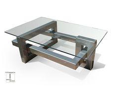 Tavolino rettangolare in acciaio inox e vetro IOS | Tavolino rettangolare - Gonzalo De Salas