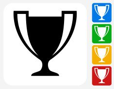 Trophy Icon Flat Graphic Design vector art illustration