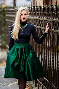 midi skirts, christmas parties, full skirts, holiday parties, emerald green