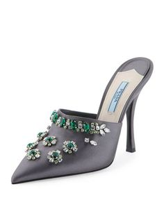 Shop evening shoes for women at Bergdorf Goodman. Dress up for your big night out with these fun to wear evening shoes that strike a mood. Mules Shoes, Heeled Mules, Shoes Heels, Bergdorf Goodman, Embellished Shoes, Satin Pumps, Evening Shoes, Prada Shoes, Wedge Boots
