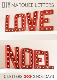 Make 2 different Marquee Letter decorations with 5 letters! Easy DIY tutorial from cardboard letters and Xmas balls. Diy Marquee Letters, Light Letters, Glitter Letters, Letter A Crafts, Partys, Cute Crafts, Valentines Diy, Holiday Crafts, Holiday Ideas