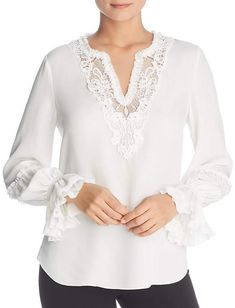 f3cd722f9ec902 Free shipping and returns on Valentino Tie Neck Silk Georgette Blouse at  Nordstrom.com. Sparkling Strass crystal buttons