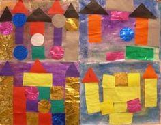 châteaux en collage avec des formes géométriques inspiré de Paul Klee