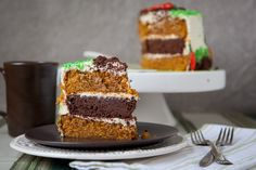 Carrot Pineapple Spice & Brownie Layer Cake with Whipped Cream & Crea...